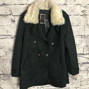 HYFVE Black Coat With Faux Fur Collar